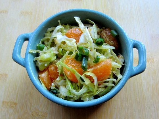 Tangerine Cabbage Salad with Kimchi Miso Dressing